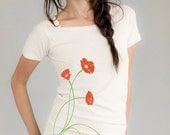 CLEARANCE SALE Poppies Flower T-shirt, Women's Organic T-shirt, Natural, Red Poppy, Green, Gift for Her, Limited Edition