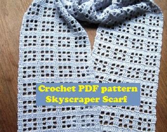 PDF pattern, Crochet Skyscraper Scarf, Crochet Lacy Scarf, Crochet Summer Scarf, fingering weight yarn project, bamboo cotton scarf,