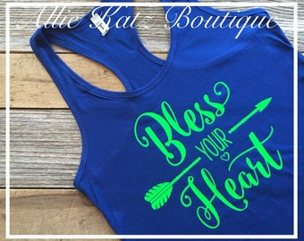 Bless your heart arrow racerback womens tank top