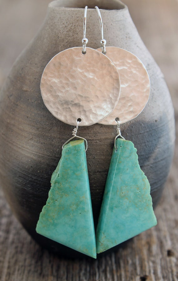Turquoise earrings with hammered silver circles - total length 3.25