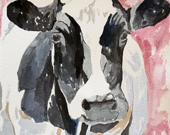 Cow print of original watercolor painting 8.5 x 11 paper size Holstein cow print Black and white cow print Cow decor Fine art print