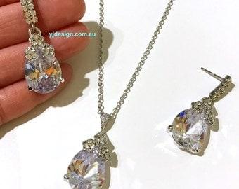 Teardrop Bridal Jewelry Set, Drop Bridal Earrings, Cz Bridal Necklace, Wedding Earrings, Crystal Wedding Jewelry, Gift for Her, PRISTINE