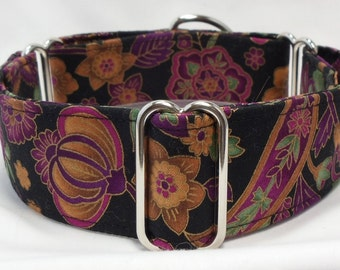 Gold, Green and Plum on Black Paisley Greyhound, Whippet, Galgo, Pit Bull, Dog Sighthound Martingale Collar