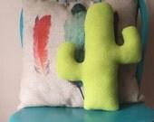 Fuzzy fleece cactus pillow
