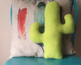 Fuzzy fleece cactus pillow