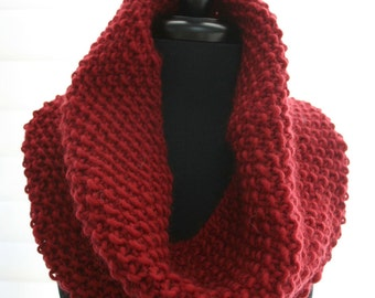 Red-Wool-Knitted-Cowl-Wrap-Neckwarmer