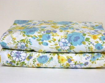 Vintage Full Sheet Set, Double Sheet Set, Full Flat Sheet, Full Fitted Sheet, Floral Sheets, Retro Sheets, Vintage Bed Sheet, Aqua Sheet