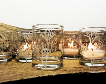 Tree Branch 24 Piece Set Candle Holders Wedding Favors Autumn Party Decor Engraved Glass Votive Holders