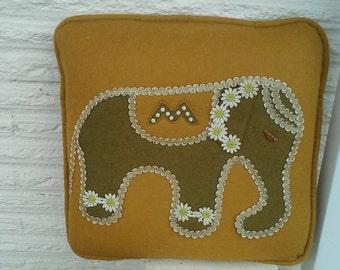 Vintage 60's Elephant Pillow / Detailed Felt