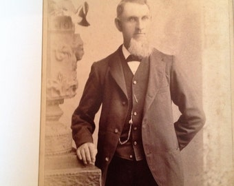 Antique Photograph of A Bearded Man with Pocket Chain Browney Brownell Photographer Cincinnati Ohio 1900s Cabinet Photo