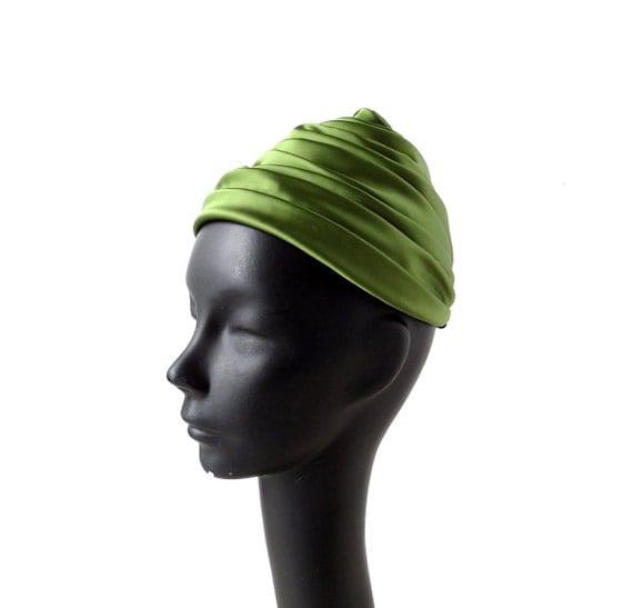 Vintage Turban Hat / Satin Hat / 1960s Hat / Olive Green Hat