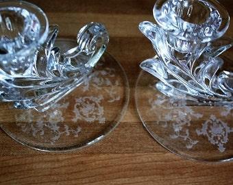 Fostoria Chintz Pair Candle Holders