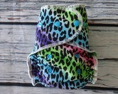 One Size Stay Dry Overnight Fitted Cloth Diaper in Leopard Rainbow