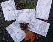 Woodland Colouring Cards - fox, owl, badger, stag and rabbit designs - Pack of 5 - Colour your own!