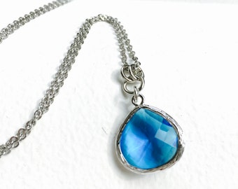 Royal Blue - Tear Drop - Crystal Glass Silver Long Necklace