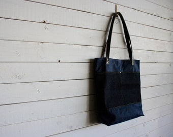 Waxed Canvas Everyday Tote Bag in Navy Blue and Denim