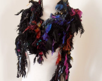 recycled silk  chiffon boho chic little tattered  scarf black grey handknitted by plumfish