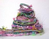 lullaby fiber effects™  12yds novelty art yarn bundle ribbon embellishment textile fiber art pack . pink lavender periwinkle green sparkle
