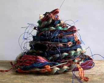 autumnal equinox fiber effects™  12yds specialty art yarn embellishment fiber bundle  . navy blue copper brown fall palette