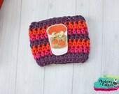 Coffee Cozy Crochet Pumpkin Gold Spice Coffee cozies, sleeve, mug sweater, purple ,pink, orange  for ceramic, plastic cups, planner girl