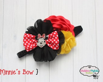baby Headband { Minnie's Bow } red, black, yellow first Birthday, cake smash Flower, cruise Headband headband, baby photography prop pageant
