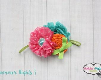 Baby headband { Summer's Night } orange, aqua pink, lime summer, beach, Headband, first birthday cake smash photography prop