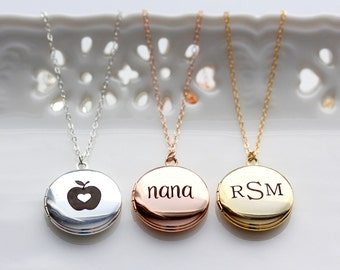Engraved Locket Necklace - MEDIUM SIZE Personalized Engraved Locket Necklace, Personalized Gift, Custom Locket Necklace Engraved Locket Gift