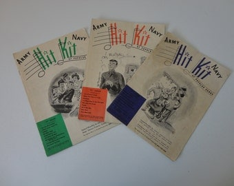 VINTAGE collection of 1940s US ARMY Navy 'hit kit' sheet music booklets