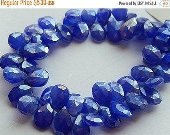 Briolettes. Blue Chalcedony Gemstone. Diamond Finish. Faceted Pear Briolette. 9mm. Pkg of 4. Semi Precious Gemstones. (dch3) SALE Was 8.70