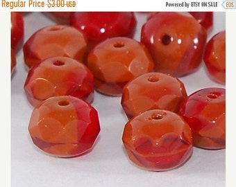 CLOSING SALE 50% OFF Orange and Red Marbled Czech Glass Bead 8x6mm Faceted Rondelle - 5 pieces    (St494-12)