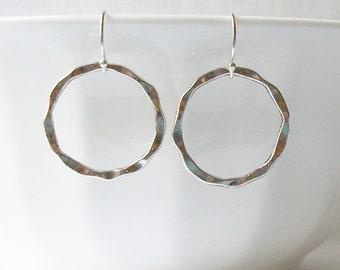 Hammered Hoop Earrings, Silver Round Dangle Earrings, Silver Circle Dangle Earrings, Hammered Circle Earrings,  Minimalist