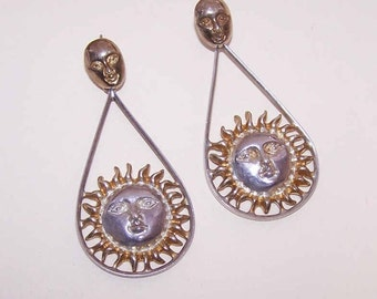 Sergio Bustamante, Mexico STERLING SILVER & Vermeil Drop Earrings - Sun Faces