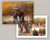 Starry Christmas Card Template for Photoshop: Instant Download