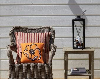 Pillow cover POPPY - handmade,cross stitch,needlepoint,needlepoint pillow,burlap pillow,embroidery pattern,cross stitch patterns,swedish,diy