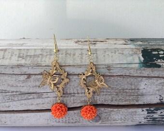Butterfly Floral Drop Earrings
