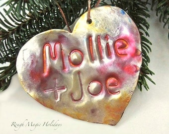 Personalized Heart Christmas Ornament. Metal Holiday Decoration. Hammered Copper Rustic Home Decor. Romantic Keepsake. Xmas Tree Ornament