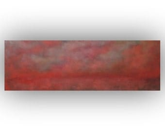 Peach and Pink Abstract Landscape- Sky Clouds and Field Oil Painting- 12 x 36 Original Palette Knife Art on Canvas