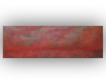Pink and Orange Abstract Landscape- Sky Clouds and Field Oil Painting- 12 x 36 Original Palette Knife Art on Canvas