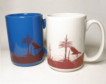 Ceramic Coffee Mug Drinking Cup with Sepia Crow or Raven