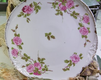 Vintage PINK ROSES Platter- BRC- Bauer Rosenthal- Shabby with Gold Edges- Large Plate- Serving Dish- L03