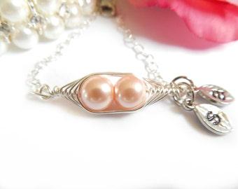 Pea pod bracelet, Two peas in a pod, 2 peas in a pod, sterling silver, Mother's Day Bracelet, Personalized Jewelry, Personalized Bracelet