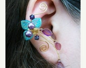 ON SALE Aqua Purple Ear Climber Ear Cuff, No Piercing, Non Pierced, Beach Wedding Jewelry, Gift Idea, Boho, Ear Vine, Ear Jacket, Elven Ear