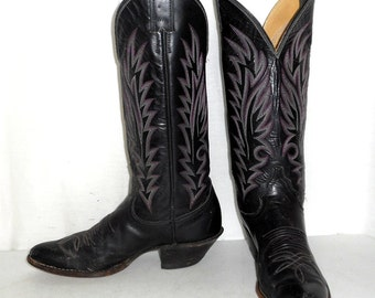 Womens 6.5 A Cowboy Boots Narrow Justin Black Cowgirl Shoes Biker Vintage Pink