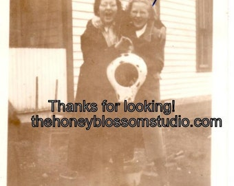 Max And Me Holding a Bedpan Vintage Photo Photograph Candid Picture Found Art Collage Supply