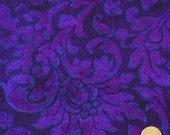 "1 2/3 yards Jinny Beyer RJR All Cotton Print Fabric Porcelana Floral Tone on Tone 45"" wideOOP Red Violet, Purple, Blue"