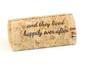"""Custom Printed Wine Cork Place Card Holders - """"happily ever after..."""""""