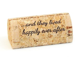 "Custom Printed Wine Cork Place Card Holders - ""happily ever after..."""