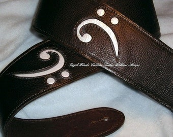 Custom Brown Leather Bass Strap w/2 Inlaid White Leather Bass Clefs - Ergonomic -Padded & Leather Lined -Adjustable Style -Very Comfortable!