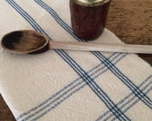 Handwoven natural and colonial blue kitchen towel with lace accents