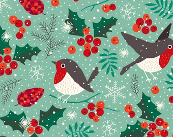 Robin Fabric - Christmas Birds In Snow By Heleen van den Thillart - Holiday Snowflake Cotton Fabric By The Yard With Spoonflower